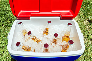 Bottles of beer in cooler box with ice